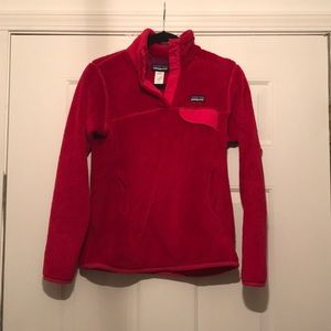 Patagonia fleece snap t neck women's small red
